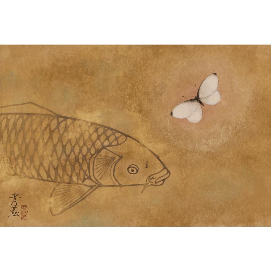 野島青茲 蝶と鯉 日本の動物画 いきもののかたち 江戸期の花鳥画などかわいい日本画のサイト